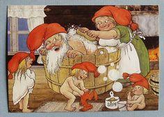 Rolf Lidberg Gnome postcard   Trollrike    Julbad  Bathing before Christmas