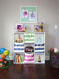 Create a fun and functional playroom for your kids by repurposing common household items for creative storage. Your kids will love their new space and you