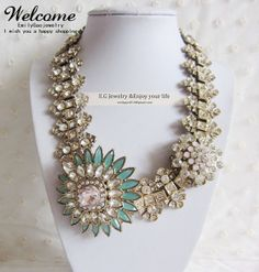 Mid-end flower statement Necklace,Water drops necklace,Choker necklace,Bubble Necklace,Bib Necklace,Beaded Necklace on Etsy, $25.99