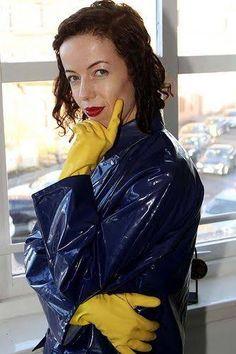 Vinyl Raincoat, Blue Raincoat, Raincoat Jacket, Pvc Raincoat, Rain Jacket, Latex Gloves, Rubber Gloves, Cleaning Gloves, Sexy Women
