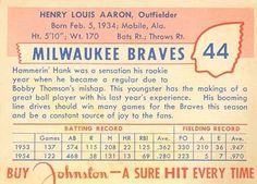 1955 Johnston Cookies #44 Hank Aaron Back