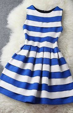 Blue and white striped summer dress