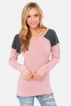 Cute Pink Sweater - Long Sweater - Pink Sweatshirt - $43.00