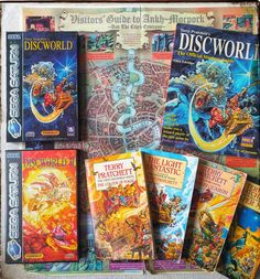 I actually discovered the Discworld series through the games on the Sega Saturn. Ever since then I've been a massive fan and I loved Eric Idle as the voice of Rincewind the Wizard. The books you see here are what the two Saturn games were loosely based off. Miss you Terry Pratchett #discworld #discworldseries #discworld2 #terrypratchett #rincewind #ericidle #ankhmorpork #sega #segasaturn #colourofmagic #lightfantastic #guardsguards #reaperman #videogaming #videogames #gaming #pointandclick…