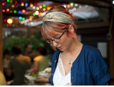 A beautiful hostess, the perfect look as were where just about ready to dine at Pok Pok; I remarked how beautiful her hair was and that I wanted to take her photo. (Photo by Wilfred Wong, August 16, 2012, Portland, OR)