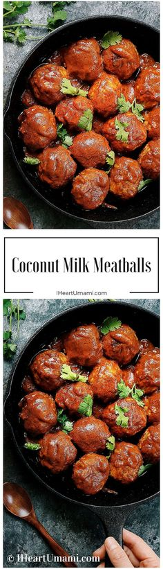 Creamy Coconut Milk Meatballs !Coming home to enjoy the most savory and juicy tender meatballs covered in coconut   cream sauce and fresh herbs. Perfect fall recipes. Paleo, Whole30, Family friendly !