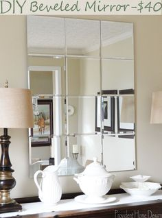 diy beveled pottery barn knockoff mirror Knock off Decor #DIY Knock Off Pottery Barn