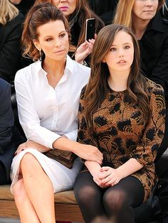 Kate Beckinsale and daughter Lily Mo Sheen, 14 yrs. old at a fashion show during London Fashion Week.