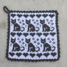 Animal Knitting Patterns, Fair Isle Knitting Patterns, Cat Pattern, Crochet Pattern, Filet Crochet Charts, Crochet Potholders, Double Knitting, Diy Crochet, Hama Beads