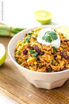 mexická rýže s kuřetem Chana Masala, Healthy Recipes, Healthy Food, Salsa, Ethnic Recipes, Fitness, Arroz Con Pollo, Healthy Foods, Salsa Music