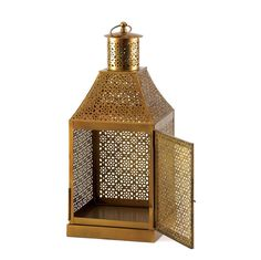 This dramatically large candle lantern sheds light on the unmistakable truth that it is the epitome of exotic design. The floral-inspired cutout pattern adorns its structure from top to bottom, making a fantastic show of light and shadow when a candle is lit inside. Candle and chain not included.