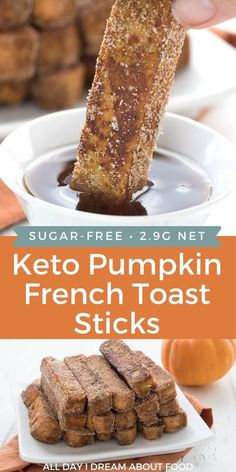 Keto Pumpkin French Toast Sticks are the best fall breakfast treat! Tender almond flour bread dipped in sugar-free pumpkin spice batter and fried to perfection! Fall Breakfast, Low Carb Breakfast, Breakfast Recipes, Dessert Recipes, Low Carb Sweets, Low Carb Desserts, French Toast Sticks, Pumpkin French Toast, Keto Cookies