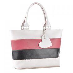 Fashion Color Block Stripe and Pendant Design Women's Shoulder Bag
