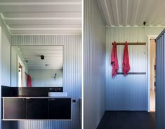 Architectural firm Matt Elkan Architect has unveiled a beautiful, eco-friendly home on Australia's south coast, made out of four repurposed shipping containers. Sea Container Homes, Container House Design, Shipping Container Homes, Shipping Containers, Red Towels, Container Office, Container Architecture, Eco Friendly House, Australia Living