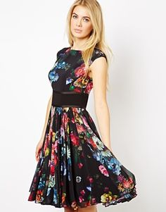Image 1 ofTed Baker Floral Printed Dress with Contrast Waist Band and Full Skirt