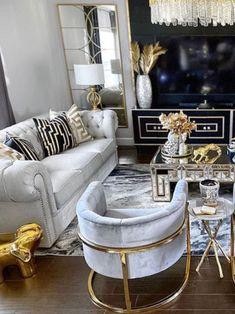 Glam Living Room, Elegant Living Room, Formal Living Rooms, Living Room Decor, Living Area, Living Room Inspiration, Home Decor Inspiration, Decor Ideas, Luxury Living