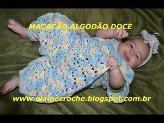 MACACÃO BEBÊ CROCHÊ ALGODÃO DOCE CORPO E PERNAS - YouTube