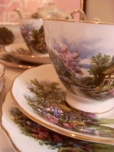 vintage china cups & saucers