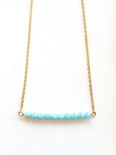N11284  Turquoise beaded gold chain necklace by padgetthoke, $32.00