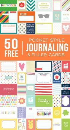 50+ FREE Printable Pocket Style Journaling & Filler Cards by Katybug