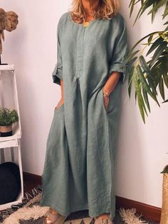 Women Casual Crew Neck Solid Sleeve Plus Size Dresses – RosaMiss Long Sleeve Maxi, Maxi Dress With Sleeves, Dress Pockets, Sleeve Dresses, Tee Dress, Linen Dresses, Casual Dresses, Cheap Dresses, Maxi Dresses