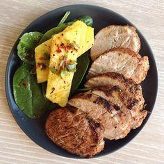 Pork Medallions with Spinach Pineapple Salad via instagram.com/whole30recipes