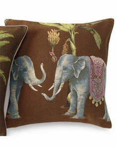 Gump's 'Diwali Elephants' Decorative Pillow