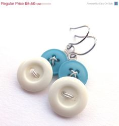 Bright Blue and White Upcycled Button Earrings by buttonsoupjewelry,