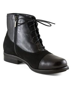 Black Suede-Accent Lace-Up Leather Ankle Boot