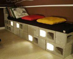 Blocos de concreto com luzes - http://www.comofazeremcasa.net/como-fazer-decoracao-e-moveis-com-blocos-de-concreto/