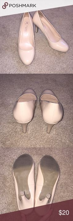 Nude Pumps super cute and dressy nude heels! the heel is about 2 inches. there is a scratch and red mark on the left shoe, but it's pretty unnoticeable when they're being worn!! they've only been worn twice! Mootsies Tootsies Shoes Heels