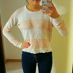 Peach Pink White Striped Sweater High Low Crew Perfect condition Forever 21 Sweaters Crew & Scoop Necks