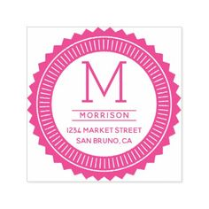 Fuchsia Monogram | Typography Badge Return Address Self-inking Stamp - monogram gifts unique custom diy personalize