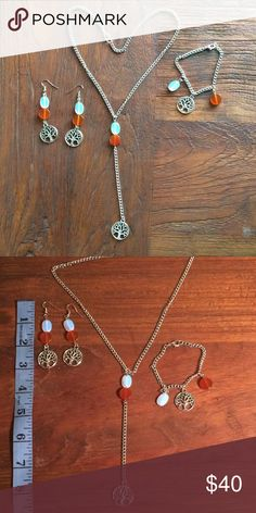 "Sun, moon and earth Boho set! Sun, moon and earth set of hypoallergenic, stainless steel French hook earrings. Stainless steel bracelet and necklace.                                  Bracelet is 7"", necklace is 18"" and can be adjusted smaller with chain. The pendant drop is 5 1/2"".                                        The sun is represented by the carnelian, the moon is represented by the opalite and Tree of  Life charm represents earth. Carnelian stimulates creativity, is a motivator for…"