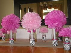 Pom-Pom Centerpiece      As Iam preparing to docenterpieces forour Women's Ministry Event at Church. It's a pom-pom explosion...yet ve...