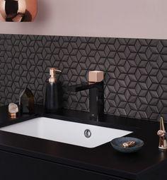 Dorf Epic Bloc Basin Mixer - Black/Rose Gold - Tapware - Bathware Direct