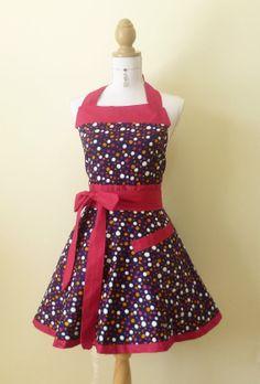Cute Retro Sweetheart Apron - Purple Multi Color Polk-a-Dot 2nd side Black and White Small Polk-a-Dots Reversible
