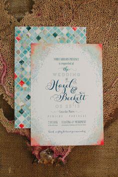 Water color #wedding invitation ~ Randi Marie Photography, Invitation Designer: Mtn Paper | bellethemagazine.com