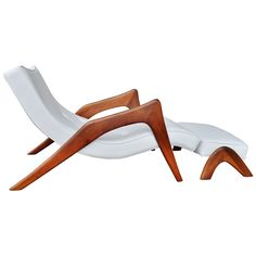 Rare Grasshopper Chaise and Ottoman, White Leather by Adrian Pearsall 1