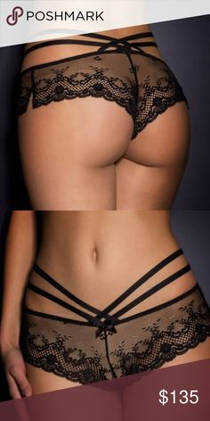 NWT agent provocateur knickers Very sexy. Size xl/5 A super-sexy take on a classic lingerie look, the high-impact Sandra range creates a teasing hourglass shape from dramatic wisps of lace and net and edgy strapping. The brief is made from sheer black French leavers lace and fishnet and has a fluted, French knicker feel, with side splits adorned with satin bows. Two elastic straps wrap around the hips, crisscrossing at the back and meeting at the centre front Agent Provocateur Intimates…