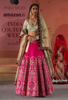 Fuchsia Pink Embroidered Lehenga , Pale Blue Blouse & Sitara Work Dupatta with a Velvet Border - Anju Modi - Amazon India Couture Week 2015