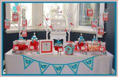 Bird themed candy buffet with red & turquoise being the accent colors. Really stands out. (The Blue Bird, The Willows, St Kilda by ''To Embellish Event Styling & Decor'')