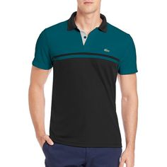 Lacoste Ultra Dry Colorblock Polo (79 CAD) ❤ liked on Polyvore featuring men's fashion, men's clothing, men's shirts, men's polos, apparel & accessories, teal, lacoste men's shirts, mens cotton shirts, mens short sleeve cotton shirts and men's moisture wicking shirts