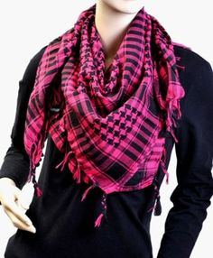 e0279f20466 Pink   Black Trendy Plaid   Houndstooth Checkered Viscose Throw Scarf  boxed-gifts.  7.99