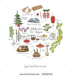 Vector Art Collection Of Japan Icons Asia Inspired Art - Japan map drawing