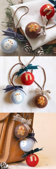 Handmade needle felted felting cute project Christmas bauble keycharm More