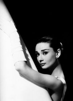 Paramount Pictures publicity photo of Audrey Hepburn in Givenchy Paris wardrobe, 1956.