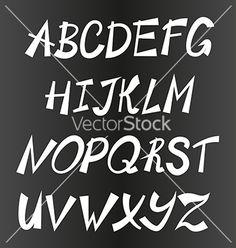 Handwriting stylish alphabet hand drawn vector by MoonGuitar on VectorStock®