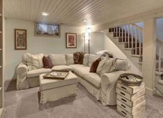 Doable Ways to DIY a Basement Ceiling Painted Wood Plank Ceiling! Would love this in our basement! Would love this in our basement! Low Ceiling Basement, Wood Plank Ceiling, Basement House, Basement Flooring, Modern Basement, Bedroom In Basement Ideas, Basement Plans, Small Basement Decor, Unfinished Basement Bedroom