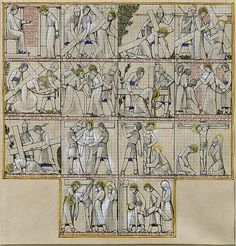 """First Designs for Stations of the Cross in Westminster Cathedral, 1914: fourteen pen and watercolour drawings for carved panels depicting Christ's passion, squared for transfer. Copyright the Trustees of the British Museum."" #jesus #panels #carved #christ"